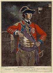 Muotokuva brittiläisestä komentajasta, Sir William Howe pukupuvussa.
