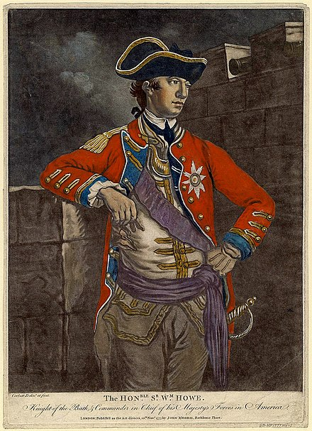 A 1777 mezzotint of Sir William Howe, British Commander-in-Chief from 1775-1778 WilliamHowe1777ColorMezzotint.jpeg