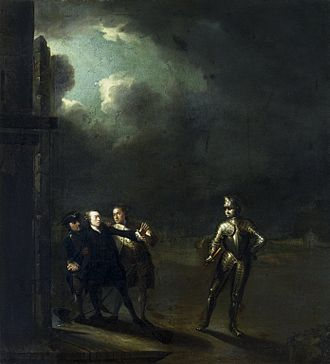 William Powell (English actor) - William Powell as Hamlet encountering the Ghost, c. 1768–1769, by Benjamin Wilson.