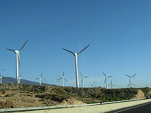 Wind generators seen from TF1 Motorway, Spain,...