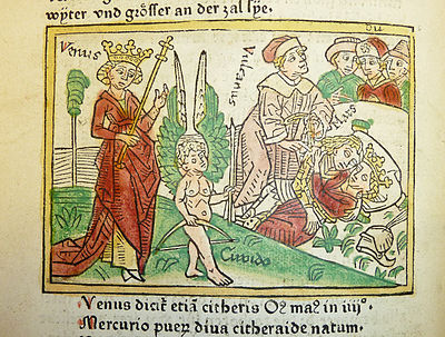 Woodcut illustration of Venus and Cupid, with Vulcan chaining Venus and Mars while Dis looks on in the background - Penn Provenance Project