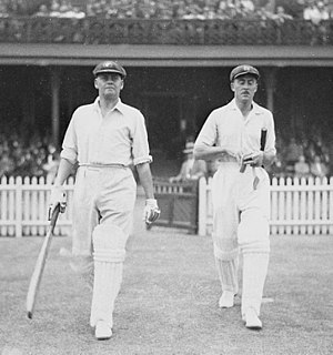 Bill Woodfull - Woodfull (left) walks out to open the batting with Vic Richardson in the final Bodyline Test.