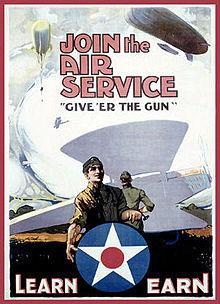 Cartel de reclutamiento del servicio aéreo del ejército de los EE. UU. De la Primera Guerra Mundial Source3.jpg