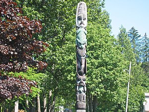Tlingit clans - The Three Frogs Pole, in Wrangell, Alaska is believed to belong to the Tlingit clans