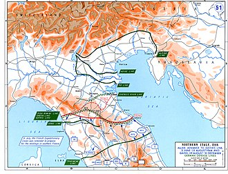 Gothic Line - Image: Ww 2 europe map italy june until december 1944
