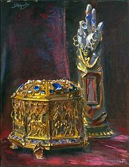 Reliquaries for the head and hand of St. Stanislaus.