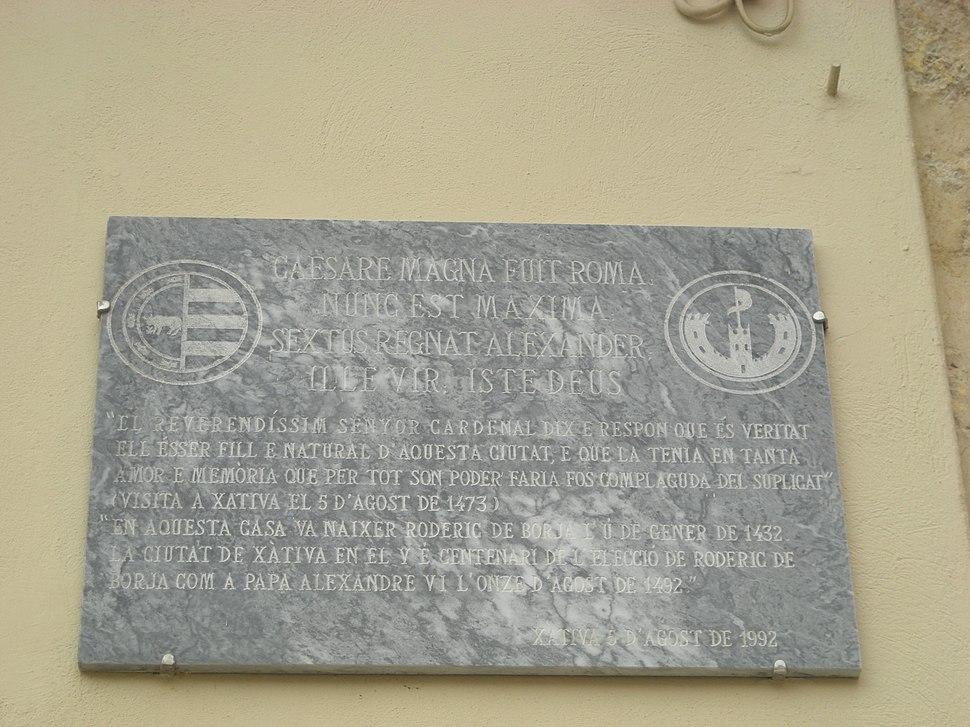 Xàtiva. Casa d'Alexandre VI. Placa