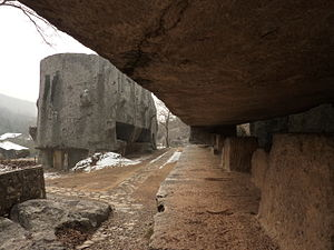 Yangshan Quarry - Under the stele body, mostly separated from the rock under it