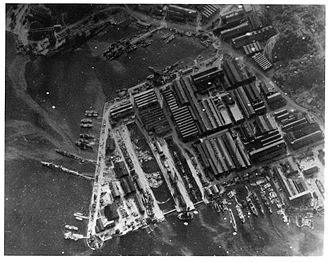 Attack on Yokosuka - A U.S. Navy reconnaissance photograph of Yokosuka Naval Arsenal on 18 July 1945. Nagato is located at the upper left of the photo.