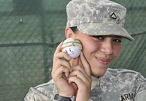 Young GI models a 'stress ball' at Guantanamo....