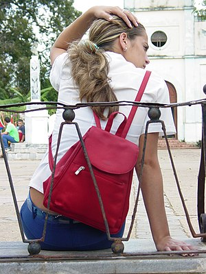 Young woman in school uniform, Vinales, Cuba. ...