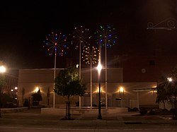 Zambelli Plaza in Downtown recognizes the pyrotechnics industry in New Castle