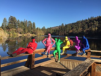 Zentai - Six people in zentai at Jenks Lake in California.