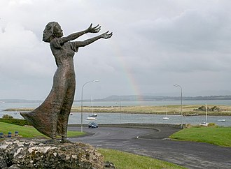 "Anguish - ""Waiting On Shore"" Rosses Point, Sligo. The sculpture, by Niall Breton, reflects the anguish of seafaring people who watch for the safe return of loved ones."