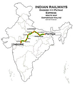 Indorepatna express wikipedia indore patna express route mapg gumiabroncs Image collections