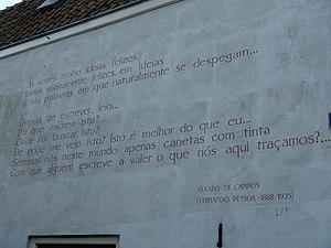 """Álvaro de Campos - """"Às vezes"""" by Álvaro de Campos on a wall in Leiden"""