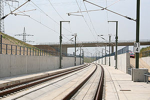 Cant (road/rail) - The cant in a curve of the Nuremberg–Ingolstadt line