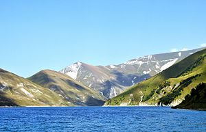 Botlikhsky District - Lake Kezenoyam, the deepest lake in the Caucasus Mountains, is located mostly in Botlikhsky District