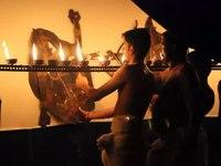 File:തോൽപ്പാവക്കൂത്ത് Playing Tholpava koothu, shadow puppet 1.webm