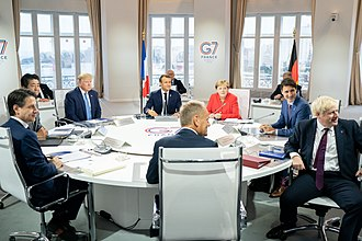 Trump with Emmanuel Macron, Angela Merkel, Justin Trudeau and other leaders at the 45th G7 summit in France, 2019 -G7Biarritz (48616362963).jpg