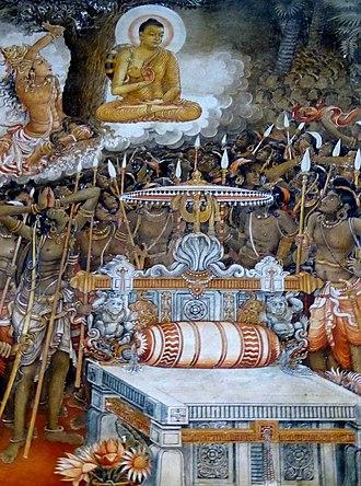 Naga people (Lanka) - Buddha's visit to Nagadeepa. Detail from Kelaniya Raja Maha Vihara
