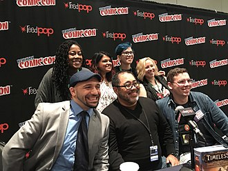 Tomi Adeyemi - Adeyemi, top left, with other fantasy authors at a panel discussion at the 2017 New York Comic Con