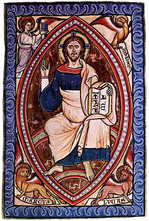Westminster Psalter - Christ in Majesty, with the Evangelists' Symbols, f 14r