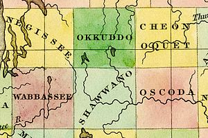 Otsego County, Michigan - Image: 1842 Negissee Okkuddo Cheonoquet Wabbassee Shawwano Oscoda counties Michigan