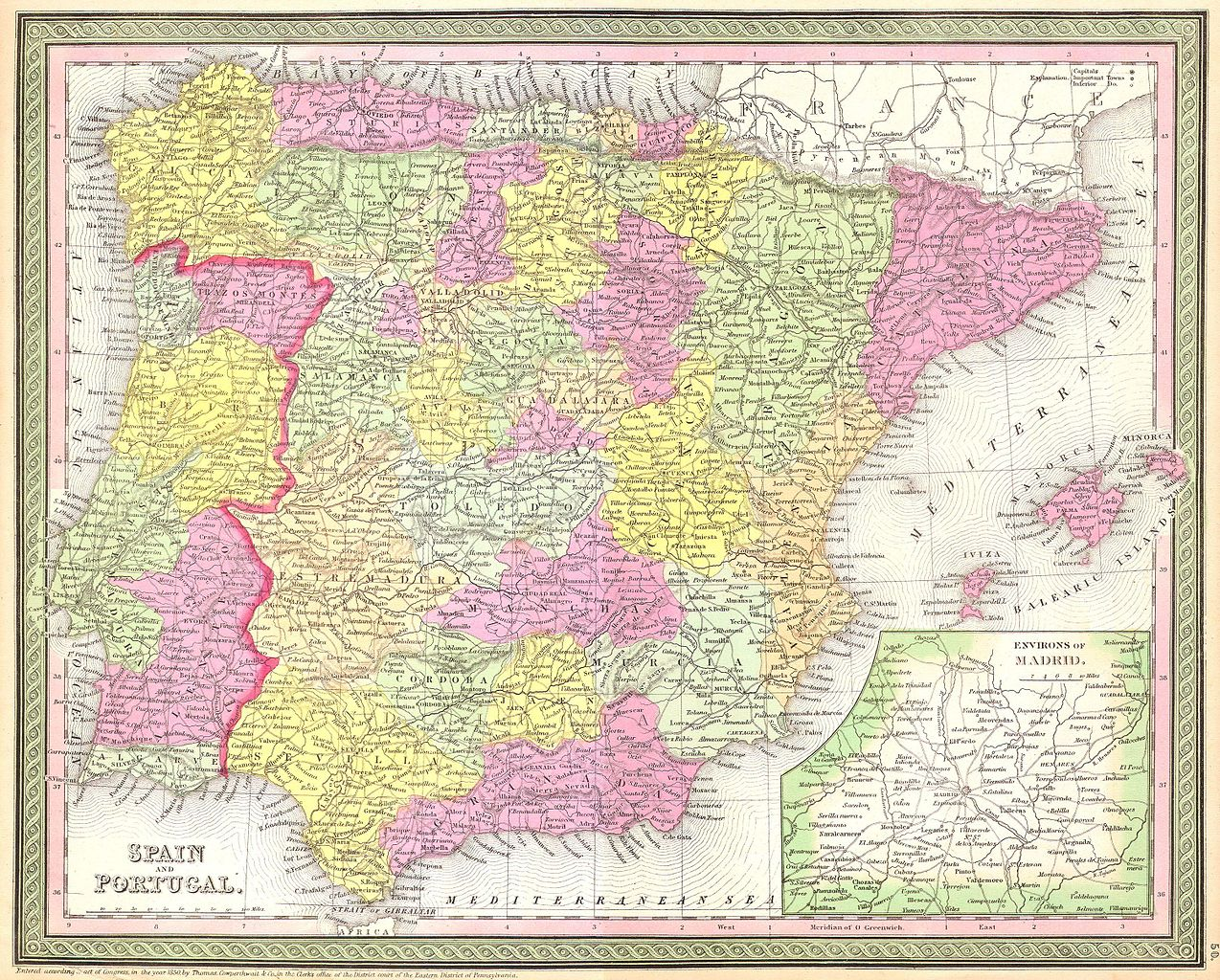 Image of: File 1850 Mitchell Map Of Spain And Portugal Geographicus Spain C 53 Jpg Wikimedia Commons