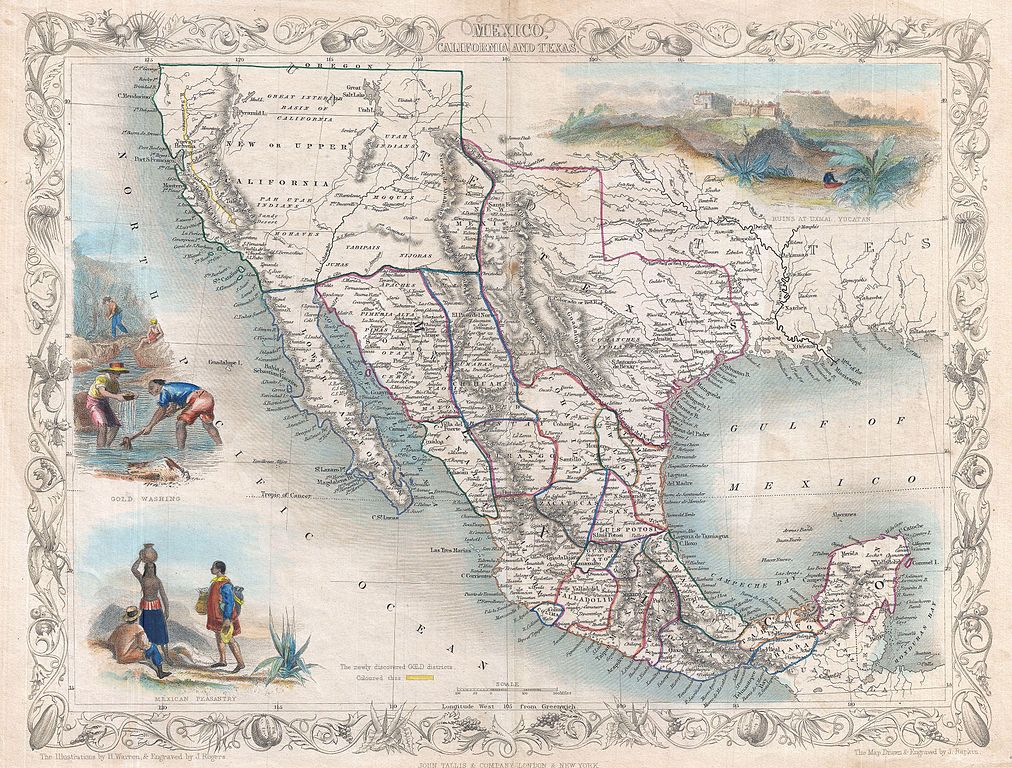 File1851 Tallis Map Of Mexico Texas And California