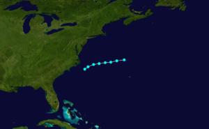 1857 Atlantic hurricane season - Image: 1857 Atlantic tropical storm 1 track