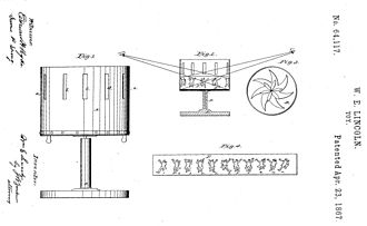 Zoetrope - W.E. Lincoln's U.S. Patent No. 64,117 of Apr. 23, 1867