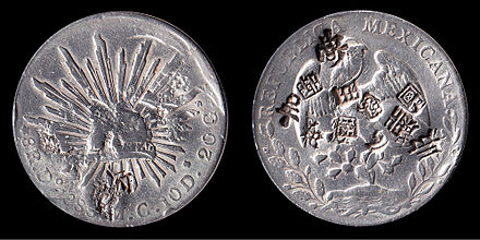 "1888 Mexican dollar with Chinese ""chop"" marks 1888 Mexico 8 Reals Trade Coin Silver.jpg"