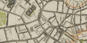 Tremont Row - Detail of map of Boston in 1895, showing Tremont Row