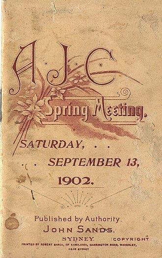Wakeful (horse) - Image: 1902 AJC Randwick Plate Racebook P1