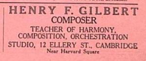 Henry F. Gilbert - Listing for Gilbert's studio in Cambridge, Massachusetts, 1914