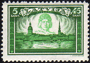 Lāčplēsis - Latvian postage stamp depicting Lāčplēsis as the protector of Riga