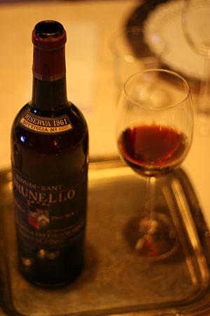 Bottle & glass of a 1961 Brunello di Montelcin...