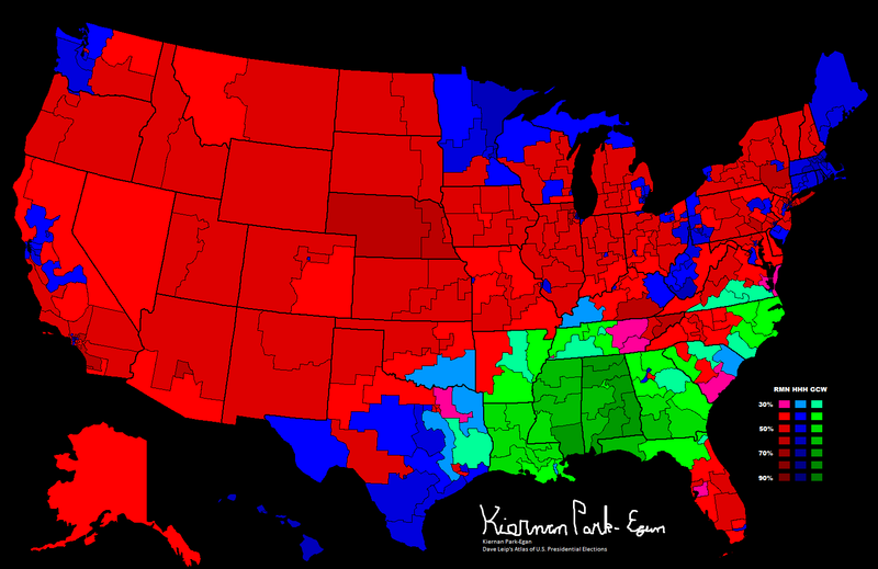 1968 Presidential Election, Results by Congressional District.png