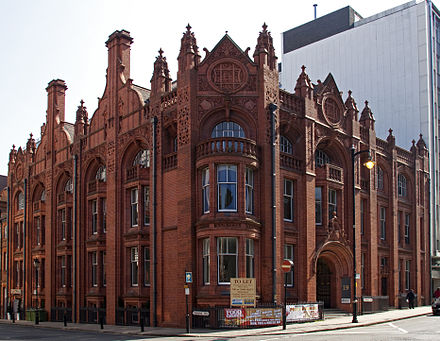 17 & 19 Newhall Street, constructed in Birmingham's characteristic Victorian red brick and terracotta style 19 Newhall Street Birmingham (4545534233).jpg