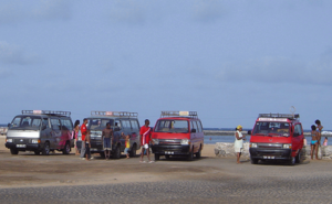 Transport in Cape Verde - Minibuses (Aluguers) on a beach in Baía das Gatas