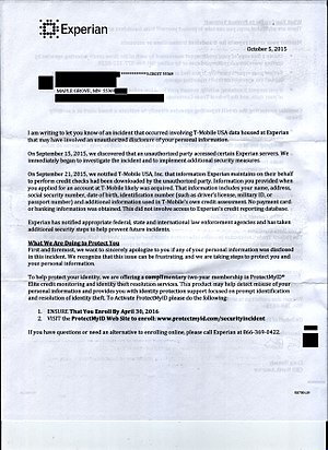Experian - Image: 2015 10 05 experian letter redacted