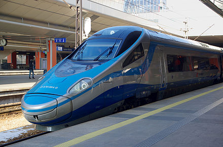 A PKP Intercity ED250 in Krakow Glowny railway station, Poland 20150207 Pendolino ED250 PKP Intercity Krakow 5031.jpg