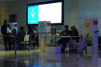 Turkish general election, June 2015 - Citizens voting at customs in Sabiha Gökçen International Airport for the general election in Istanbul, 7 June 2015