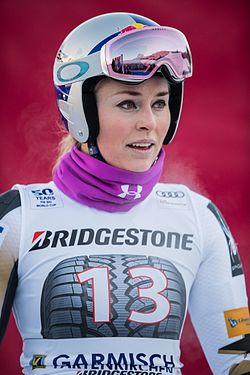 Lindsey Vonn during FIS Alpine Skiing World Cup competitions in Garmisch-Partenkirchen in January 2017