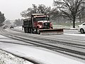 2020-12-16 11 59 16 A snow plow plowing Franklin Farm Road westbound just west of Virginia State Route 286 (Fairfax County Parkway) in the Franklin Farm section of Oak Hill, Fairfax County, Virginia.jpg
