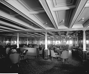 Second and Third-class facilities on the RMS Titanic - The 2nd-Class Library on the RMS Olympic.