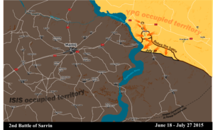 Battle of Sarrin (June–July 2015) - YPG advances during the battle