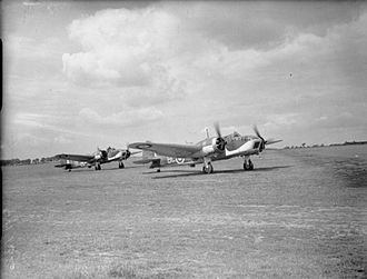 No. 40 Squadron RAF - 40 Squadron Blenheims running up engines at RAF Wyton