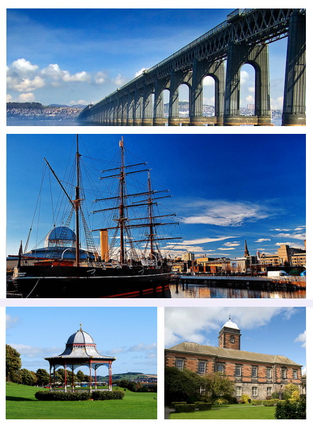 Top: Tay Rail Bridge, Middle: RRS Discovery and City Centre, Bottom left: Magdalen Yard Bandstand, Bottom right: University of Dundee.